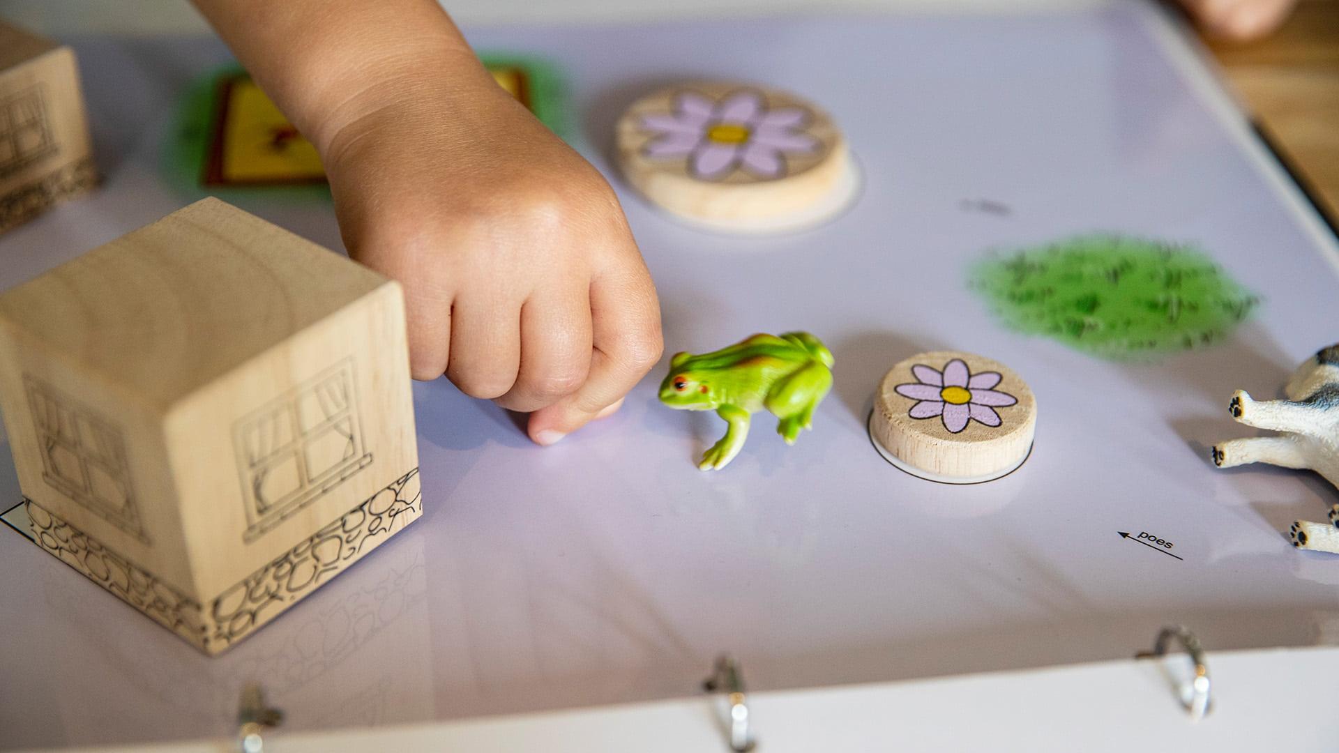 Handen Lot met kikkertje en bloem tijdens logopedie consult